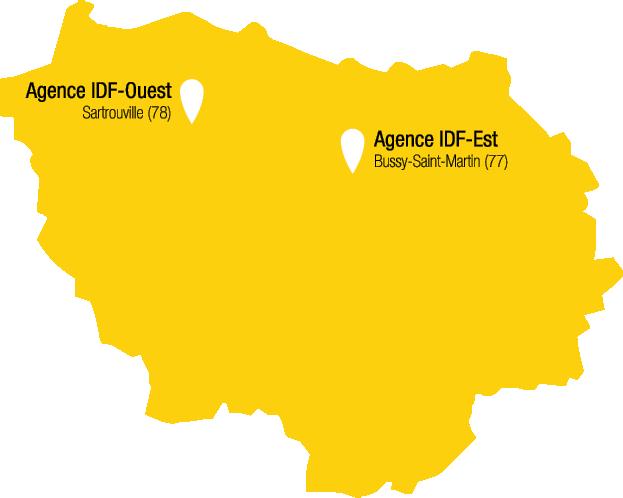 Carte des agences de Récré'Action en Île-de-France avec Bussy-Saint-Martin et Sartrouville