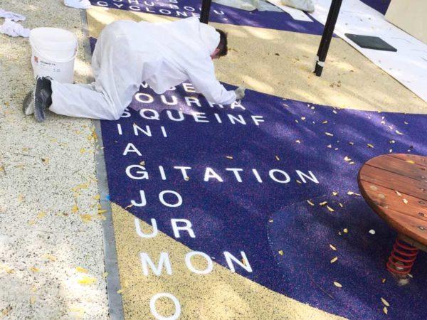 Réalisation des peinture marquage au sol au Jardin des Dunes et des Vents à La Villette