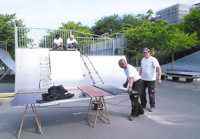 Réparation d'un skate-parc, équipements sportifs, aire de jeux, mobilier urbain...