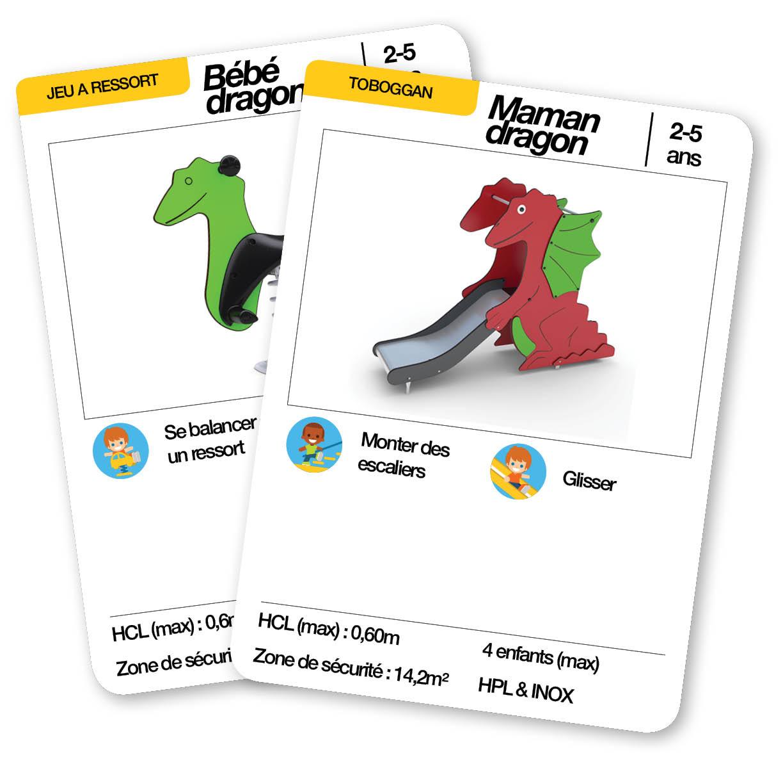 Éventail des cartes d'une aire de jeux thématique antre du dragon