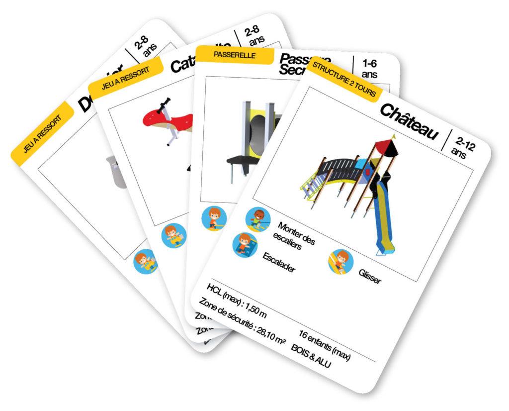 Éventail des cartes d'une aire de jeux thématique château fort