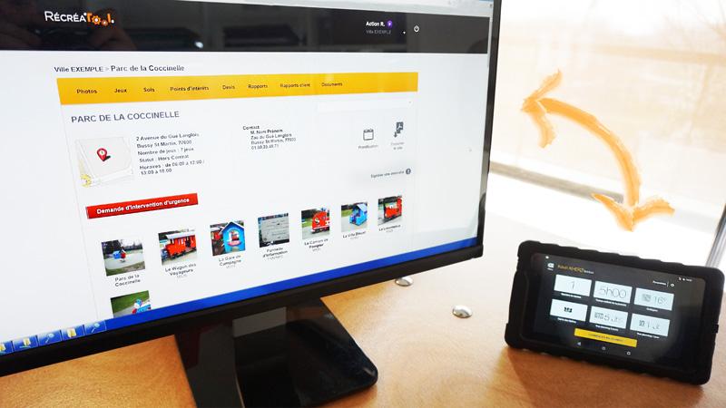 RécréaTool sur ordinateur et sur tablette pour la supervision des aires de jeux