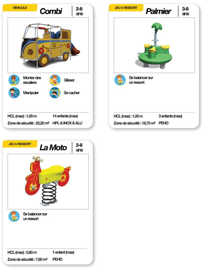 Cartes d'une aire de jeux thématique les vacances