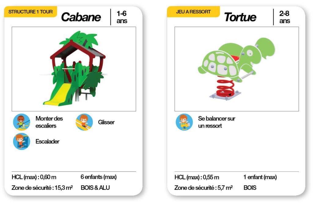 Cartes d'une aire de jeux thématique la famille tortue