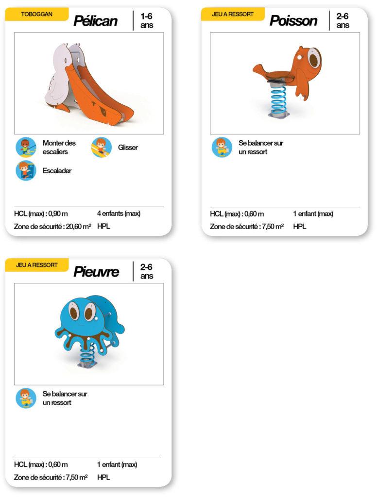 Cartes d'une aire de jeux thématique bord de mer