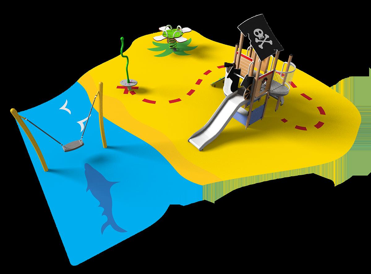 Aire de jeux thématique chasse au trésor sur sol souple avec structure en bois, jeu à ressort, toupie et balançoire