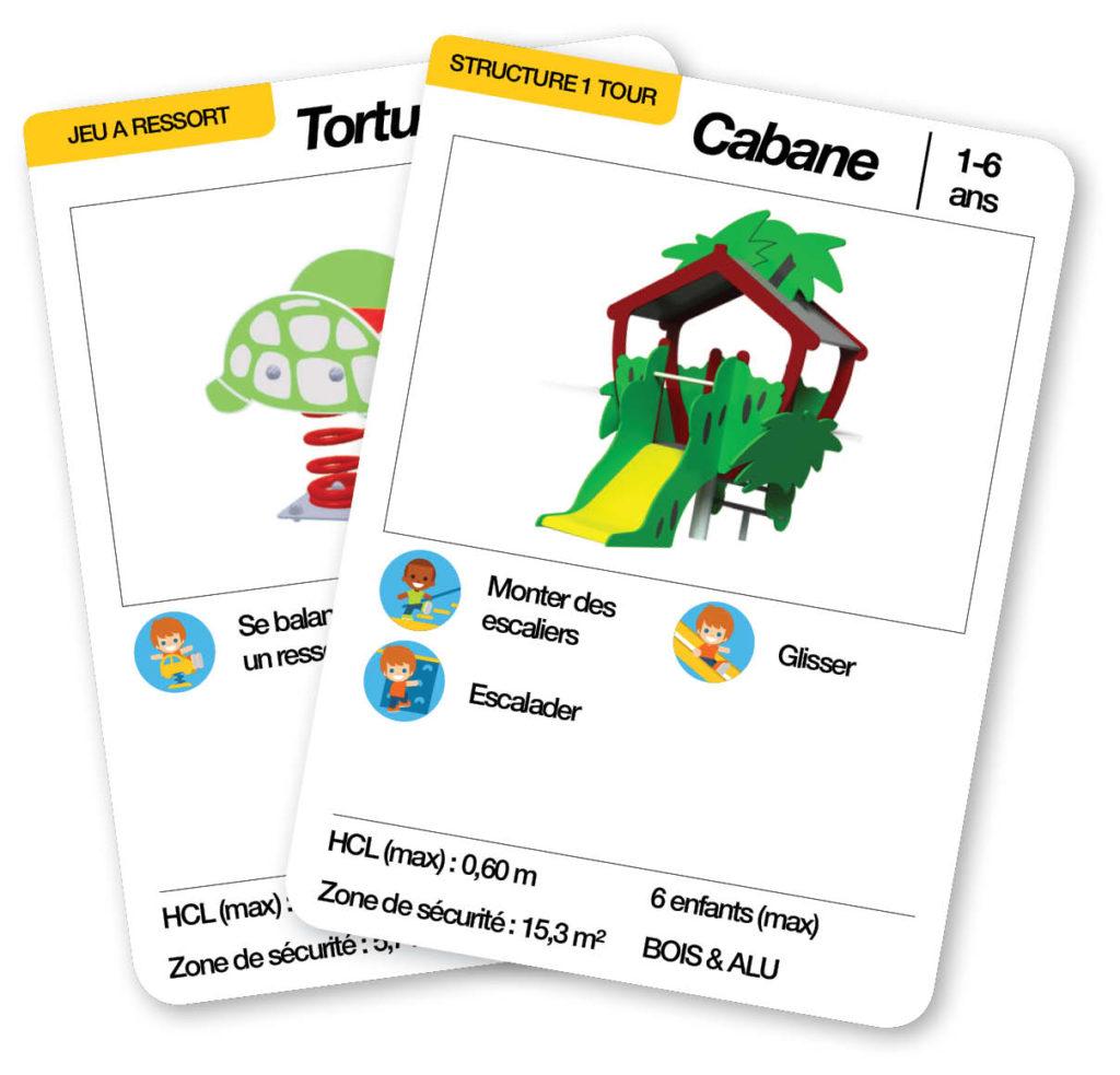 Éventail des cartes d'une aire de jeux thématique la famille tortue
