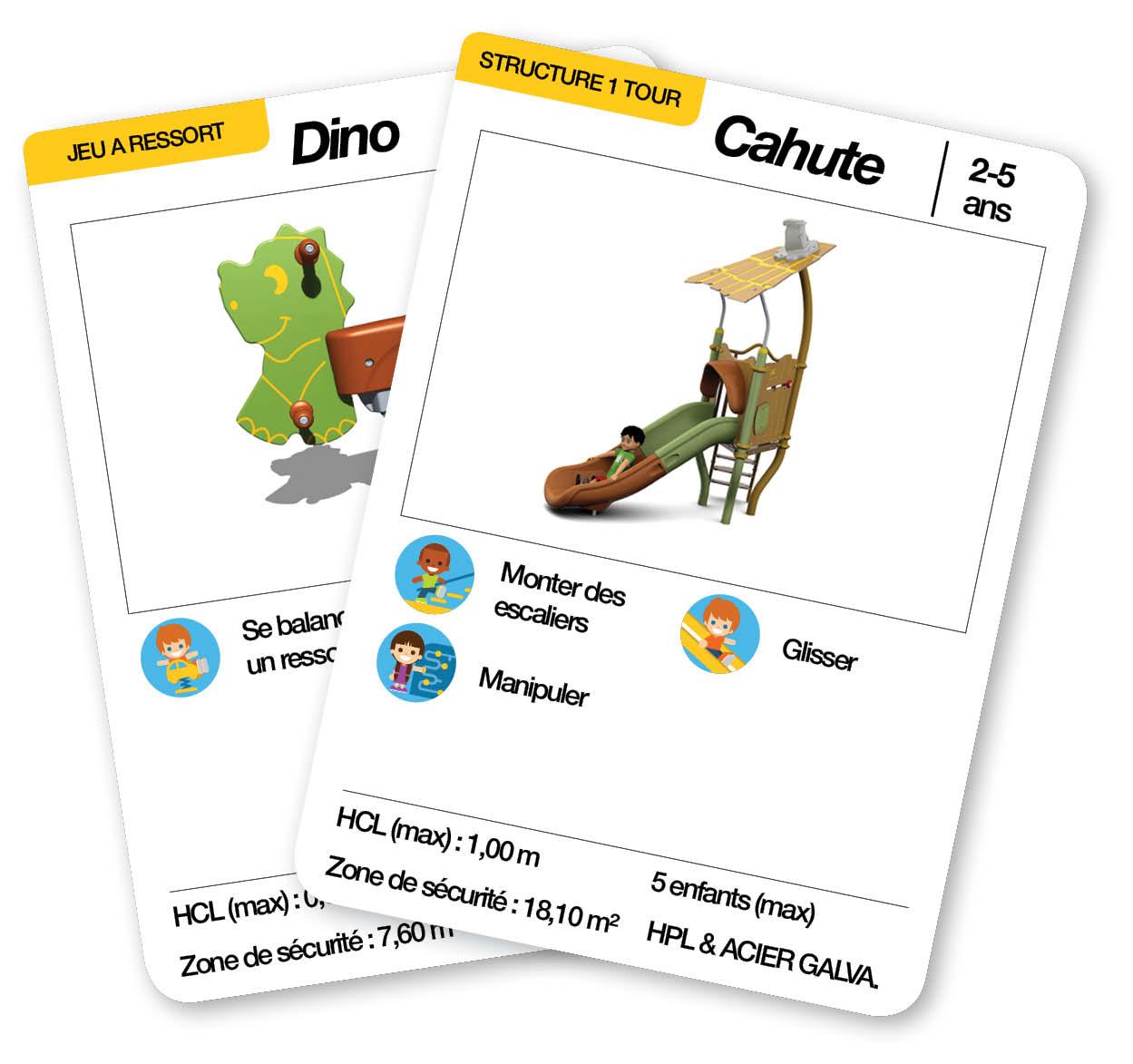 Éventail des cartes d'une aire de jeux thématique petit dinosaure