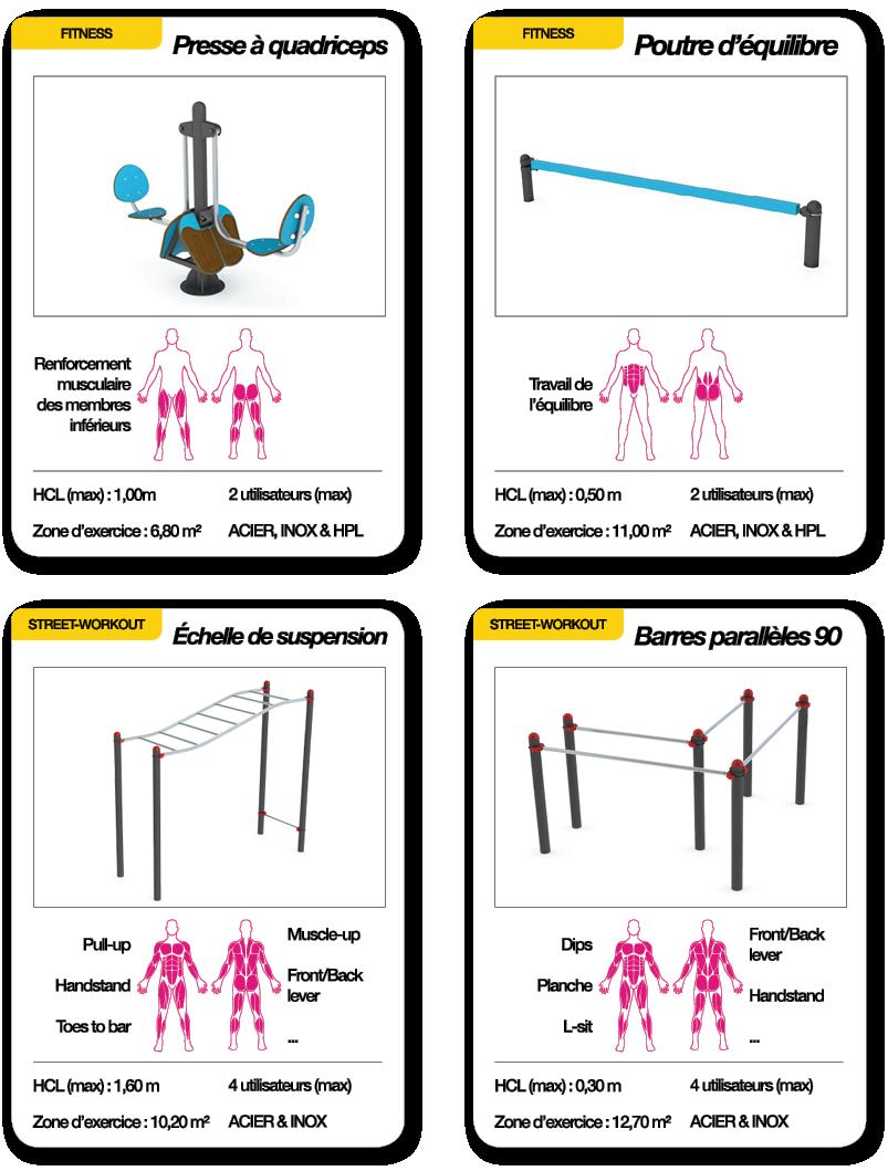 Cartes grand mixte avec presse à quadriceps, poutre d'équilibre, échelle de suspension et barres parallèles