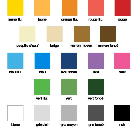 Nuancier gezolan 22 couleurs d'EPDM - Sol souple