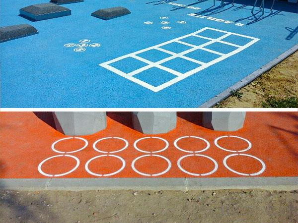 Marquages sportifs sur stations de street-workout concept sport