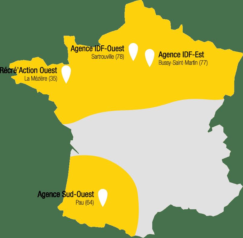 Carte des agences de Récré'Action en France avec Bussy-Saint-Martin, Sartrouville et Récré'Action Ouest en Bretagne