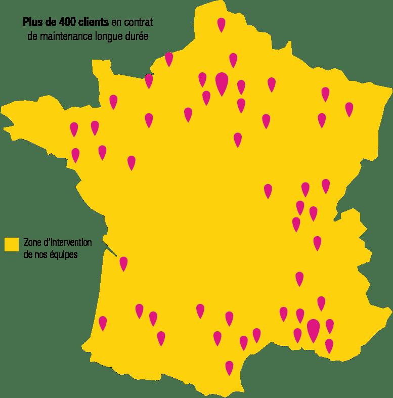 Carte schématique de la répartition des clients de Récré'Action