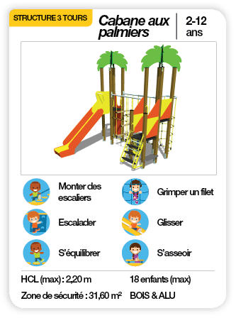 CABANE AUX PALMIERS - Structure multifonctions toboggan pont de corde