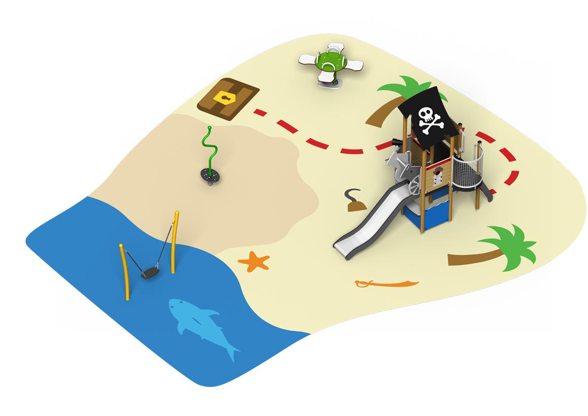 CHASSE AU TRÉSOR - Aire de jeux structure toboggan ressort balançoire tourniquet sol souple