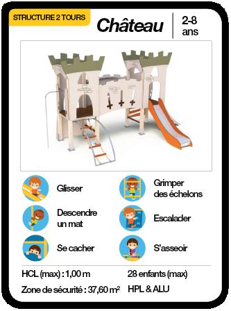 CHÂTEAU - Structure multifonctions toboggan échelle mat de pompier
