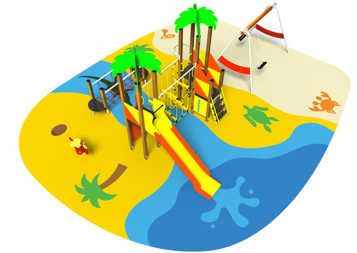 SOUS LES TROPIQUES - Aire de jeux structure toboggan ressort balançoire pont de corde sol souple