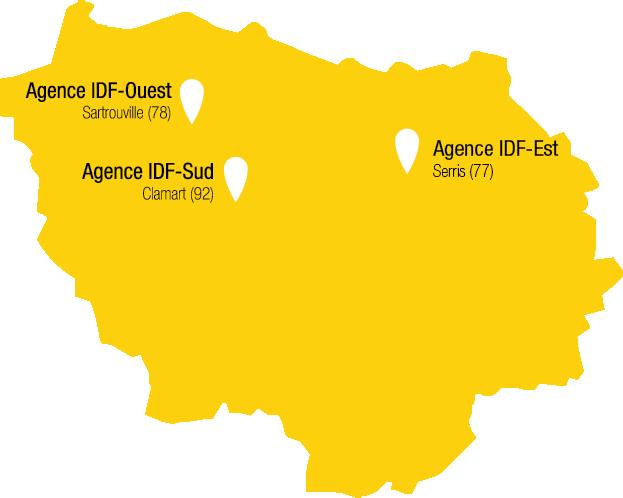 Carte des agences de Récré'Action en Île-de-France avec Bussy-Saint-Martin, Sartrouville et Clamart