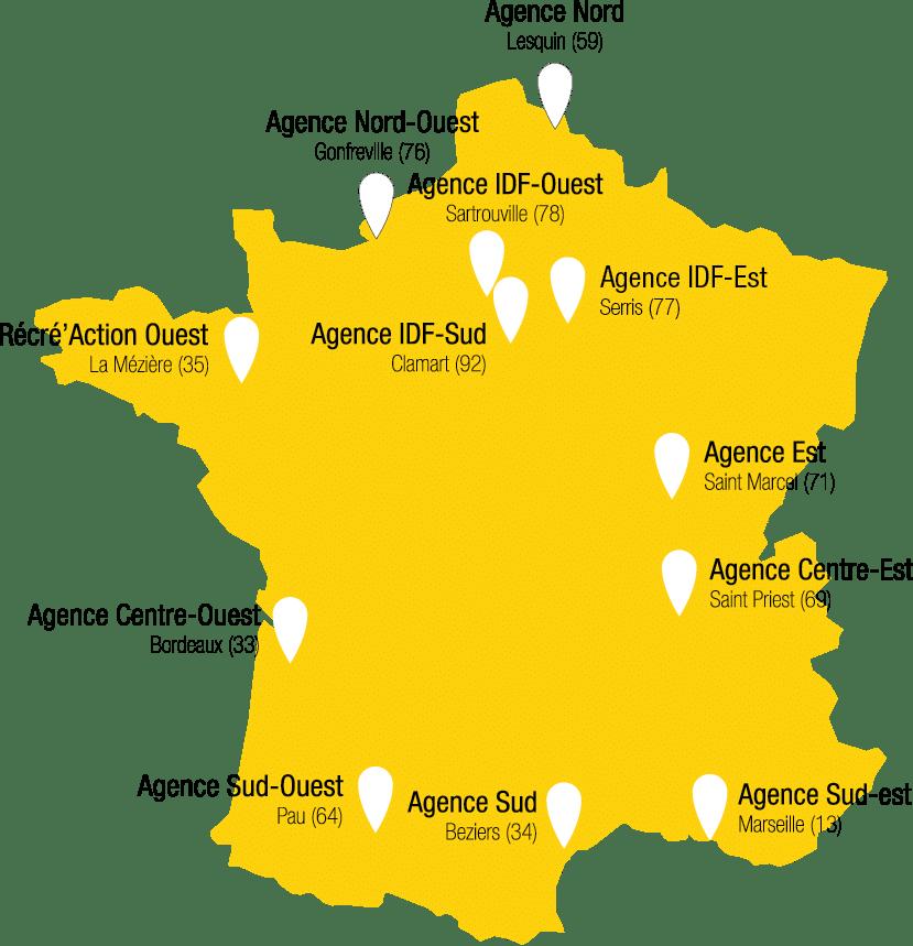 Carte des agences de Récré'Action en France