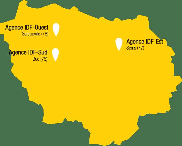 Carte des agences de Récré'Action en Île-de-France avec Bussy-Saint-Martin, Sartrouville et Buc
